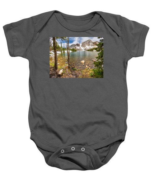 Medicine Bow Snowy Mountain Range Lake View Baby Onesie