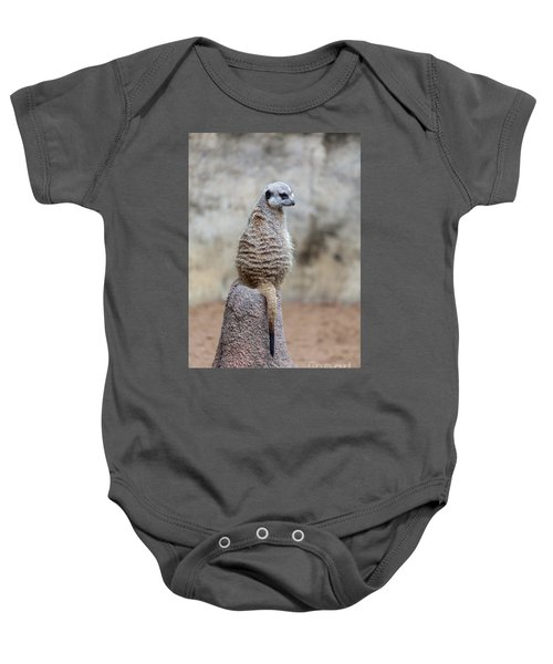 Meerkat Sitting And Looking Right Baby Onesie