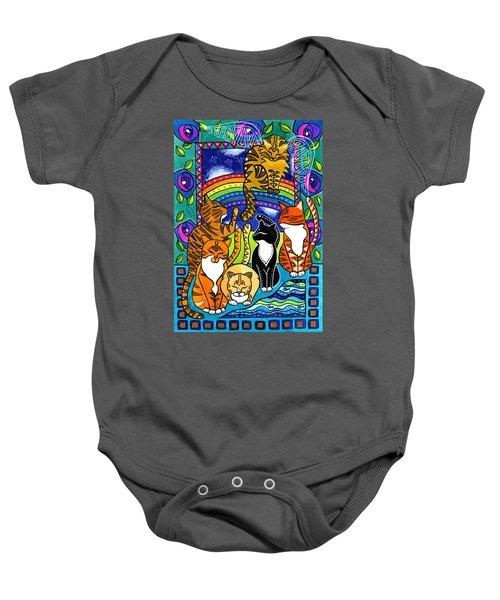 Meet Me At The Rainbow Bridge - Cat Painting Baby Onesie