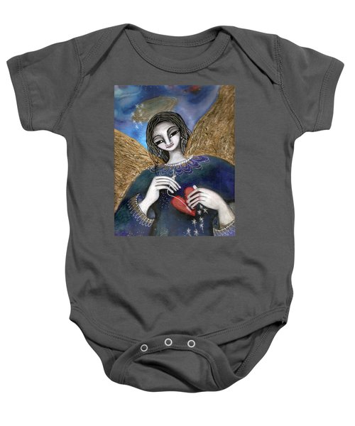 Baby Onesie featuring the mixed media Mender Of Hearts Angel by Prerna Poojara
