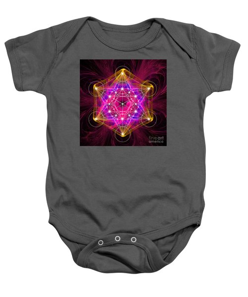 Metatron's Cube With Flower Of Life Baby Onesie
