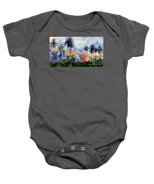 Miami Beach Watercolor Baby Onesie by Jon Neidert