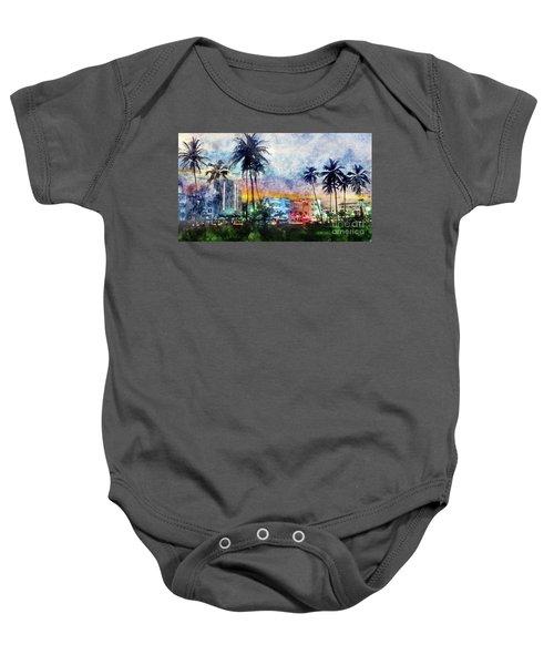 Miami Beach Watercolor Baby Onesie