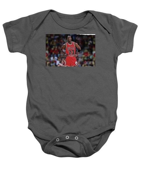 Michael Jordan, Number 23, Chicago Bulls Baby Onesie by Thomas Pollart
