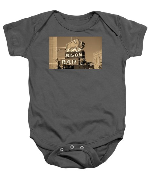 Baby Onesie featuring the photograph Miles City, Montana - Bison Bar Sepia by Frank Romeo