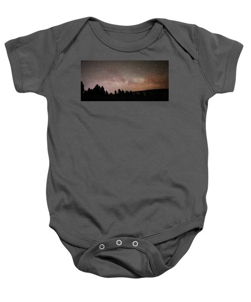 Milky Way Over Mammoth Hot Springs With Pink Glow From Aurora Borealis Baby Onesie