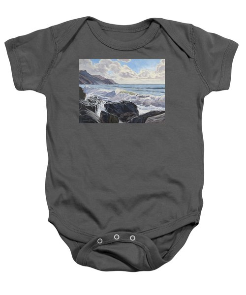 Baby Onesie featuring the painting Millook Haven by Lawrence Dyer