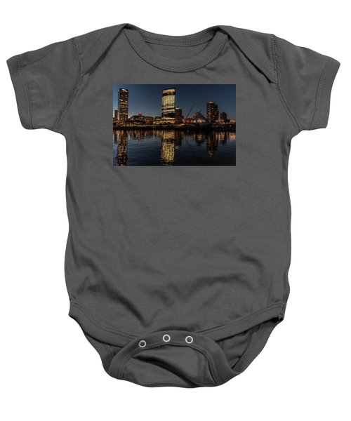 Baby Onesie featuring the photograph Milwaukee Reflections by Randy Scherkenbach