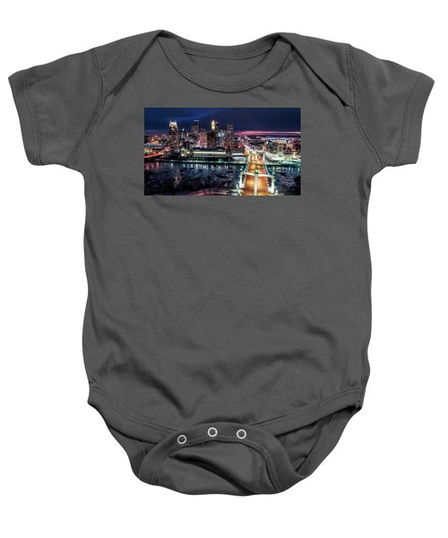 Minneapolis Skyline From The Mississippi River Baby Onesie