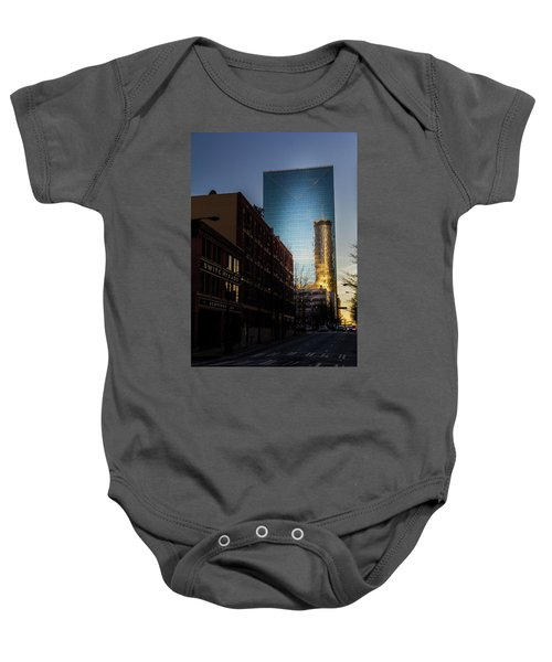 Mirror Reflection Of Peachtree Plaza Baby Onesie