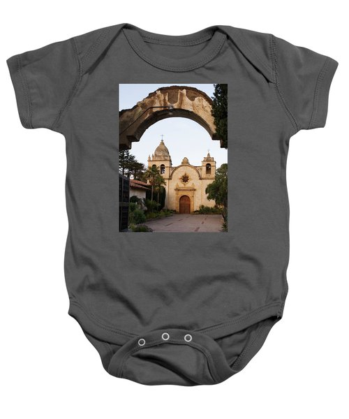 Baby Onesie featuring the photograph Mission Carmel And Arch by Renee Hong