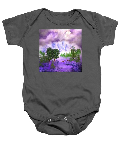 Misty Mountain Deer Baby Onesie