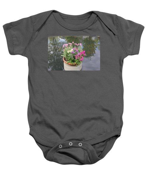 Mixed Flower Planter Baby Onesie