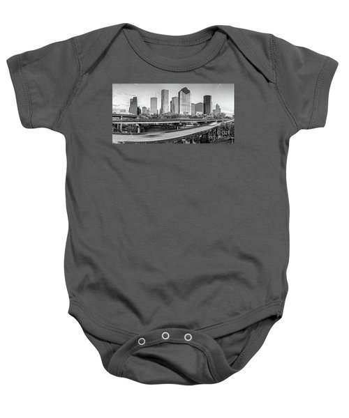 Monochrome Panorama Of Downtown Houston Skyline From Buffalo Bayou Park - Harris County Houston Texa Baby Onesie