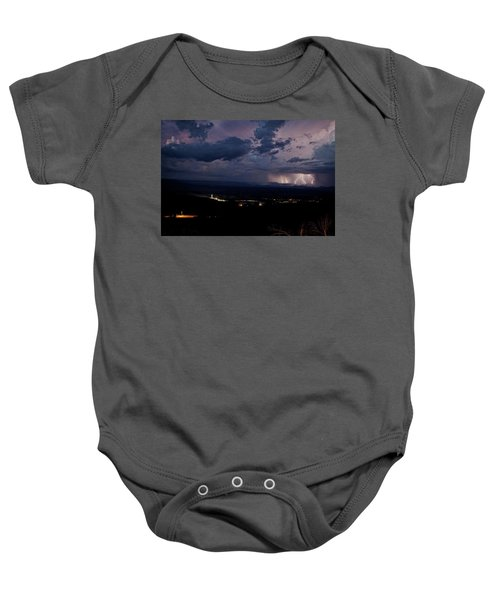 Monsoon Lightning Over Sedona From Jerome Az Baby Onesie