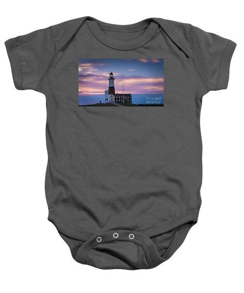 Montauk Lighthousepastel  Sunrise Baby Onesie