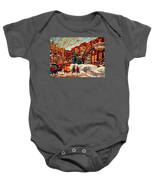 Montreal Street In Winter Baby Onesie
