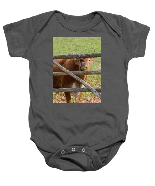 Baby Onesie featuring the photograph Moo by Bill Wakeley