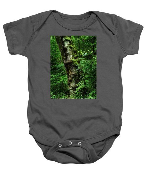 Moody Tree In Forest Baby Onesie