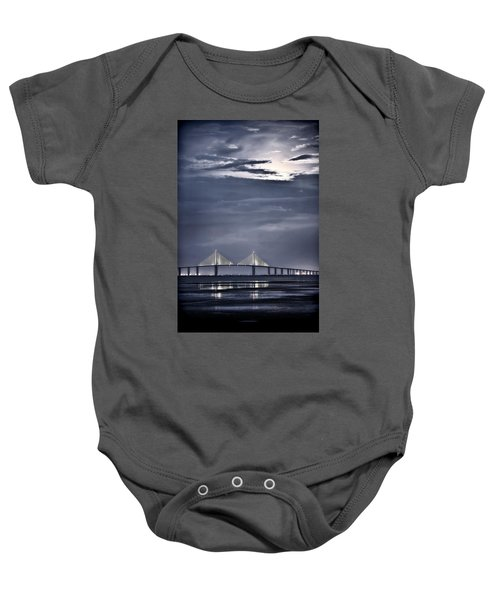 Moonrise Over Sunshine Skyway Bridge Baby Onesie