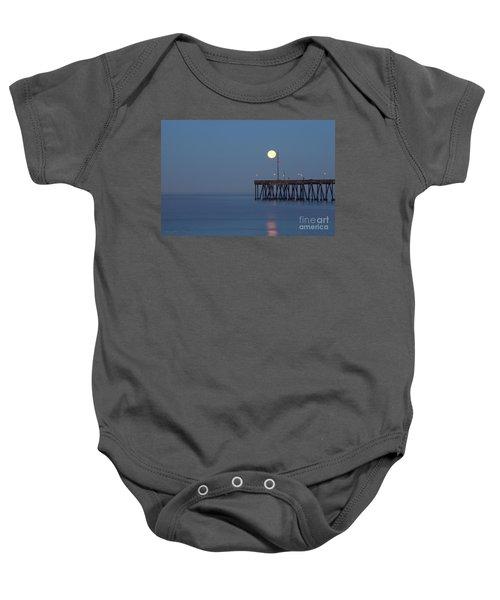 Moonset At The Ventura Pier Baby Onesie