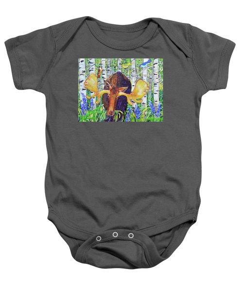 Moose In The Aspen Baby Onesie