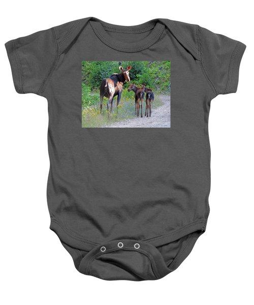 Moose Mom And Babies Baby Onesie