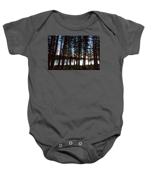 Baby Onesie featuring the photograph Mountain Forest Lake by James BO Insogna