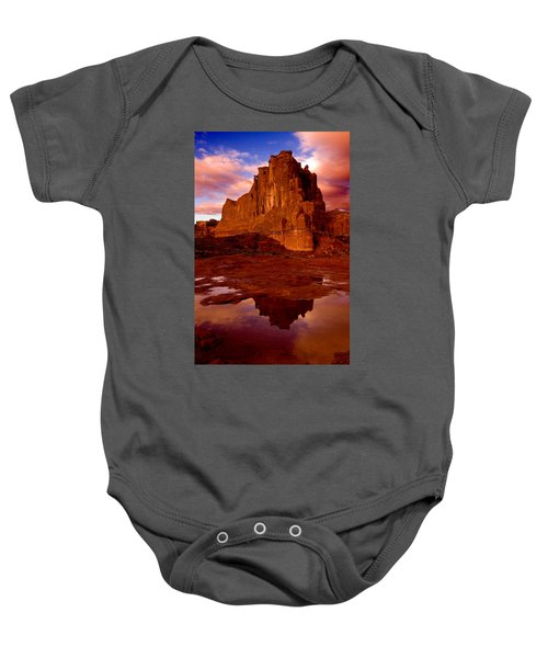 Mountain Sunrise Reflection Baby Onesie