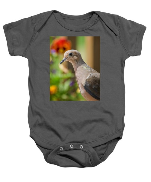 Mourning Dove And Flowers Baby Onesie