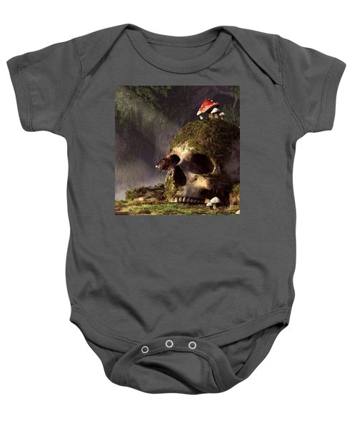Mouse In A Skull Baby Onesie