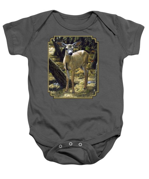 Mule Deer Fawn - Monarch Moment Baby Onesie by Crista Forest