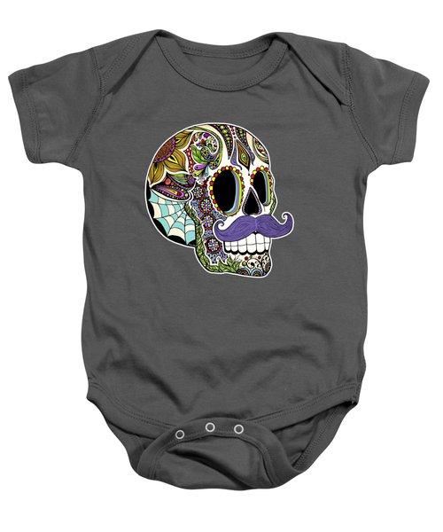Mustache Sugar Skull Baby Onesie