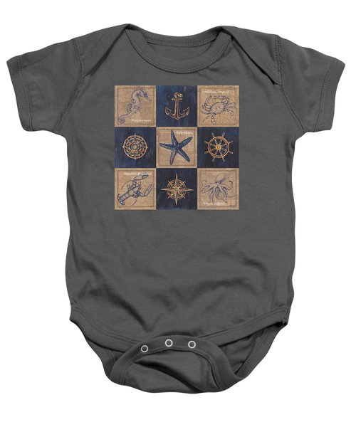 Nautical Burlap Baby Onesie