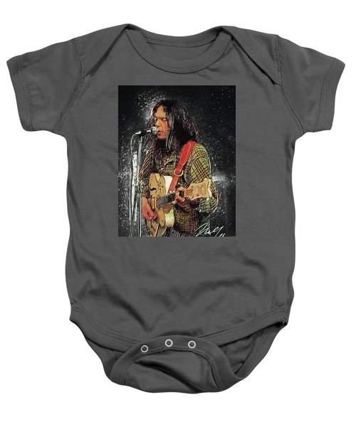 Neil Young Baby Onesie by Taylan Apukovska
