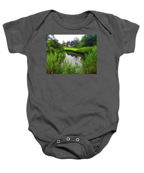 New England House And Stream Baby Onesie