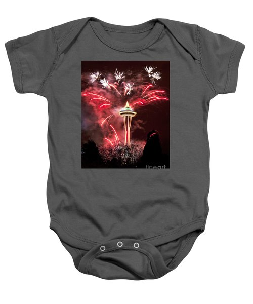 Baby Onesie featuring the photograph New Years At The Space Needle by Peter Simmons