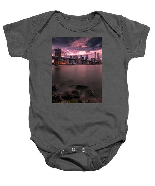 New York City Brooklyn Bridge Sunset Baby Onesie