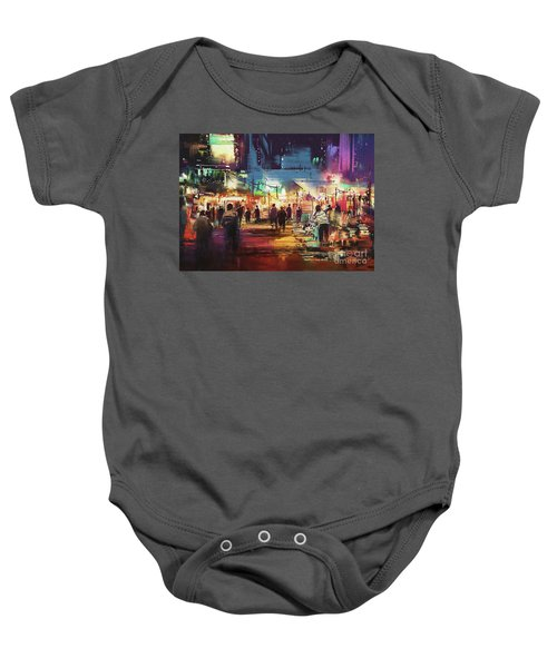 Baby Onesie featuring the painting Night Market by Tithi Luadthong