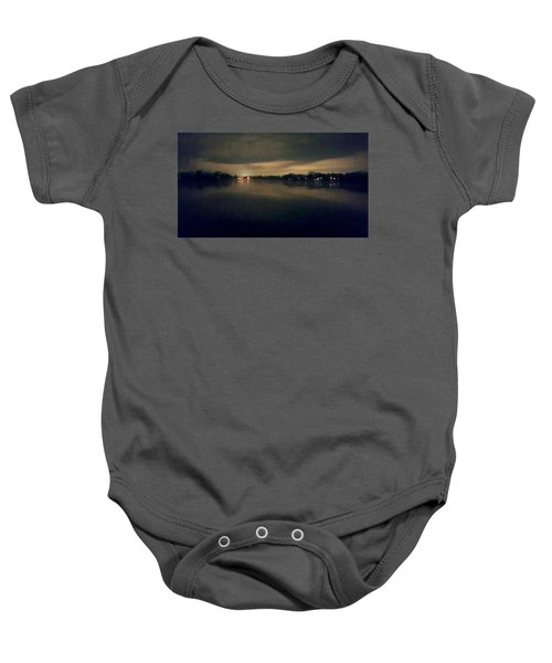 Night Sky Over Lake With Clouds Baby Onesie