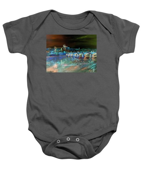 Night Sky Over Prague Baby Onesie