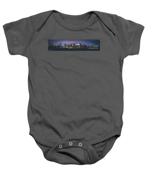 Night View Of Downtown Skyline In Winter Baby Onesie