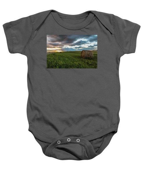 North Dakota Sunset With Hay Baby Onesie