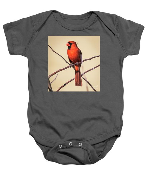 Northern Cardinal Profile Baby Onesie by Ricky L Jones