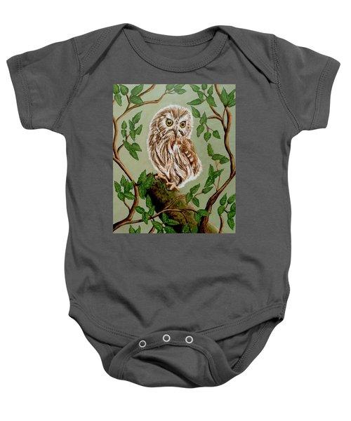 Northern Saw-whet Owl Baby Onesie by Teresa Wing