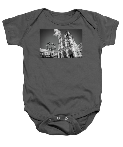 Notre Dame Black And White Baby Onesie