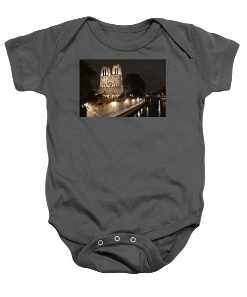 Notre Dame Cathedral From Petit Pont Baby Onesie