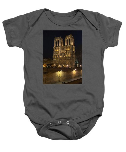Notre Dame Night Painterly Baby Onesie