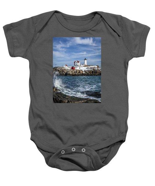 Nubble Lighthouse Winter Baby Onesie