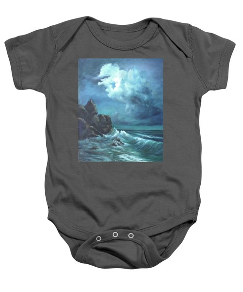 Seascape And Moonlight An Ocean Scene Baby Onesie